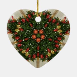 Ornement Cœur En Céramique Kaléïdoscopique vert rouge de guirlande élégante