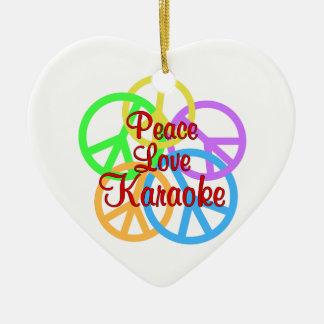 Ornement Cœur En Céramique Karaoke d'amour de paix