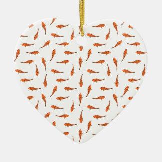 Ornement Cœur En Céramique Koi pêche le motif de motif