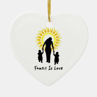 Ornement Cœur En Céramique La famille est amour Sun