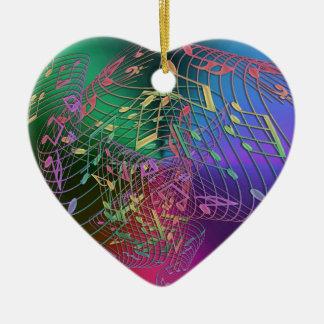 Ornement Cœur En Céramique La musique d'arc-en-ciel note l'ornement de Noël