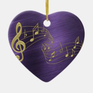 Ornement Cœur En Céramique La musique d'or de Purple Heart note l'ornement