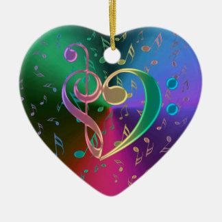 Ornement Cœur En Céramique La musique note l'ornement triple de coeur de clef