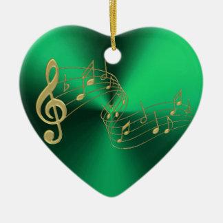 Ornement Cœur En Céramique La musique verte d'or de coeur note l'ornement de