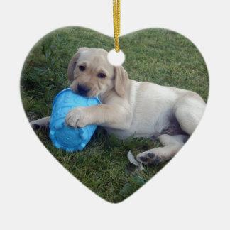 Ornement Cœur En Céramique Labrador_Puppy, _Chomp, _