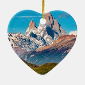 Ornement Cœur En Céramique Lac et montagnes des Andes, Patagonia - Argentine
