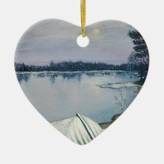 Ornement Cœur En Céramique Lac forest