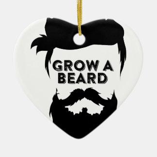 Ornement Cœur En Céramique Laissez-vous pousser une barbe alors que nous