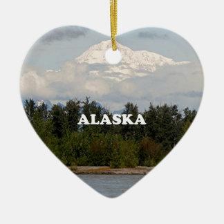 Ornement Cœur En Céramique L'Alaska : Denali, forêt, rivière, montagnes,