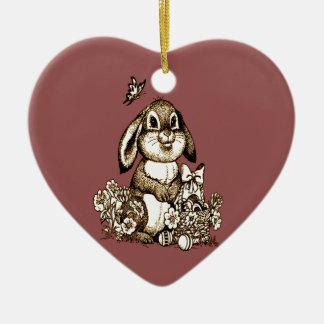 Ornement Cœur En Céramique Lapin de Pâques