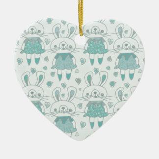 Ornement Cœur En Céramique Lapins heureux dans le bleu