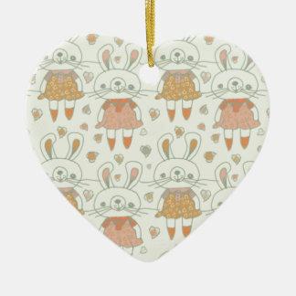 Ornement Cœur En Céramique Lapins heureux dans l'orange
