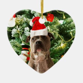Ornement Cœur En Céramique L'arbre de Noël de chien de Pitbull ornemente le
