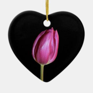 Ornement Cœur En Céramique L'arrière - plan vide de tulipes roses fleurit les