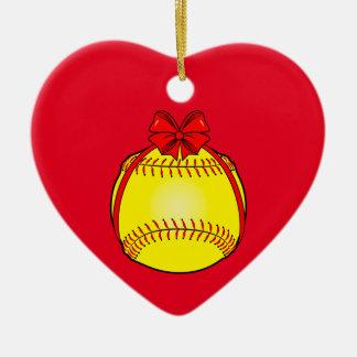 Ornement Cœur En Céramique Le base-ball avec un arc à Noël