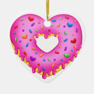 Ornement Cœur En Céramique Le beignet rose de coeur avec l'arc-en-ciel arrose