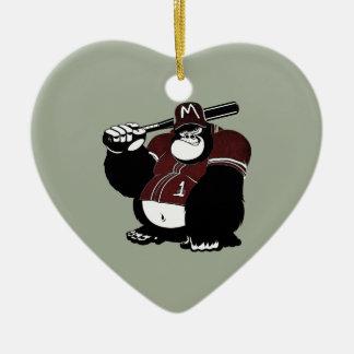 Ornement Cœur En Céramique Le club de base-ball de gorille