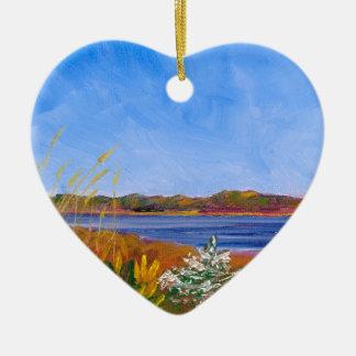 Ornement Cœur En Céramique Le fleuve Delaware d'or