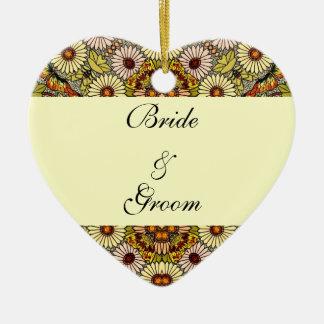 Ornement Cœur En Céramique Le mariage vintage, jardin fleurit les papillons