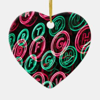Ornement Cœur En Céramique Les clés au néon de machine à écrire se ferment