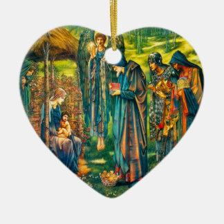 Ornement Cœur En Céramique L'étoile de l'ornement de coeur de Bethlehem