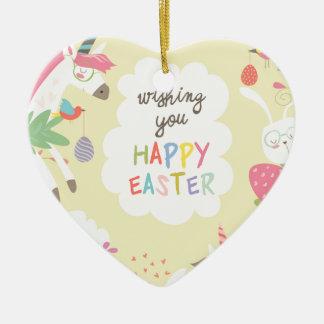 Ornement Cœur En Céramique licorne de Pâques