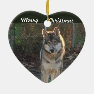 Ornement Cœur En Céramique Loup de Joyeux Noël