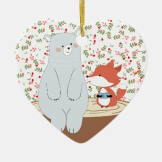 Ornement Cœur En Céramique Loup mignon vintage de renard d'été de ressort et