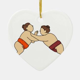 Ornement Cœur En Céramique Lutteur de sumo de Rikishi poussant la ligne mono