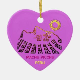 Ornement Cœur En Céramique Machu Picchu Cusco Pérou