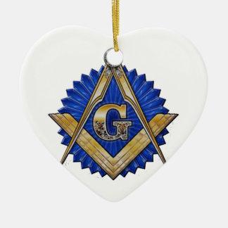 Ornement Cœur En Céramique Maçon bleu de loge