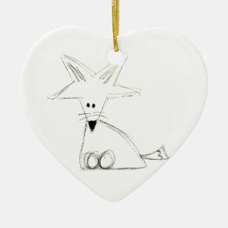 Ornement Cœur En Céramique maculez le dessin simple gris blanc noir d'enfants