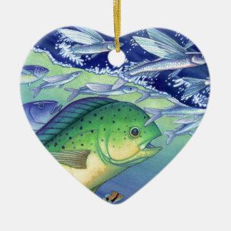Ornement Cœur En Céramique Mahi Mahi (poisson de dauphin) chassant des