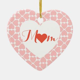 Ornement Cœur En Céramique Maman avec des coeurs de trèfle de feuille du rose