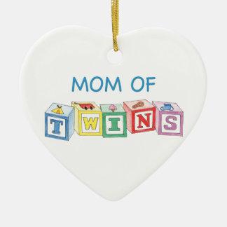 Ornement Cœur En Céramique Maman d'ornement de jumeaux