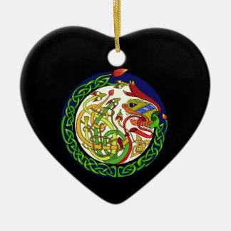 Ornement Cœur En Céramique Mandala celtique de dragon de noeud