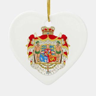 Ornement Cœur En Céramique Manteau des bras royal danois vintage du Danemark