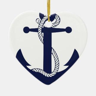 Ornement Cœur En Céramique Marine d'ancre de navigation