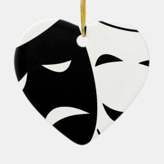 Ornement Cœur En Céramique Masques de tragédie de comédie