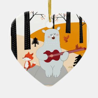 Ornement Cœur En Céramique Mignon chantez un loup de renard de chanson d'été