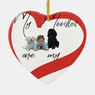 Ornement Cœur En Céramique Mon Moodles sont mes meilleurs amis