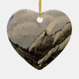 Ornement Cœur En Céramique Montagne couronnée de neige