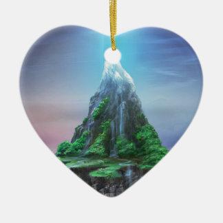 Ornement Cœur En Céramique Montagne de ciel de Megalious