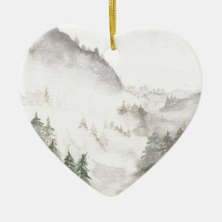 Ornement Cœur En Céramique Montagnes brumeuses