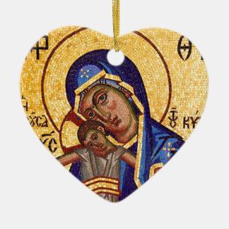 Ornement Cœur En Céramique Mosaïque Madonna et icône d'enfant