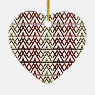 Ornement Cœur En Céramique Motif aztèque de triangle