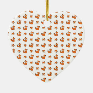 Ornement Cœur En Céramique motif de renards rouges