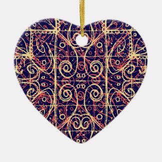 Ornement Cœur En Céramique Motif fleuri tribal