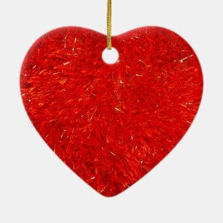 Ornement Cœur En Céramique Motif lumineux chic de fête de couleur rouge