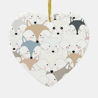 Ornement Cœur En Céramique Motif mignon de renard ou de loup de bande